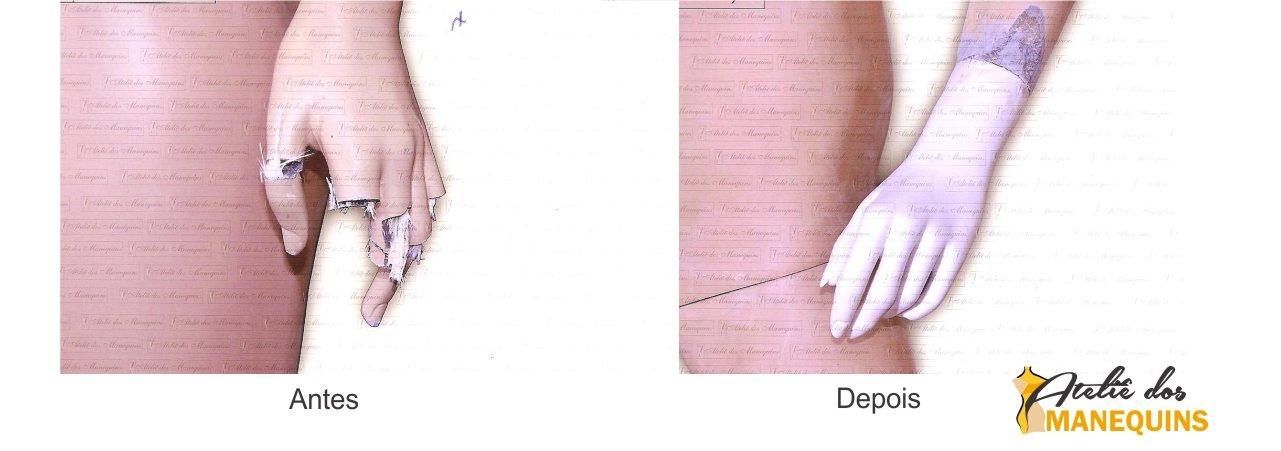 Reforma da mão do manequim e pintura